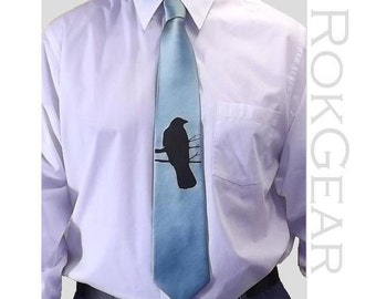 RokGear Crow print Neckties - Set of 9 ties Crow Necktie Mix or match colors print to order