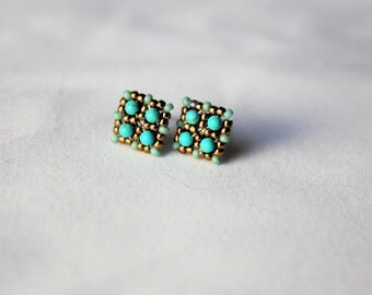 Hand beaded Bronze and Turquoise stud earrings with sterling silver stud