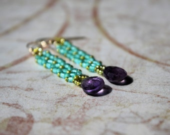 Hand Beaded dangle earrings with Amethyst drops with green and turquoise seed beads, 14k gold filled ear wires
