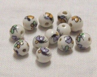Porcelain Butterfly Beads - Set of 12
