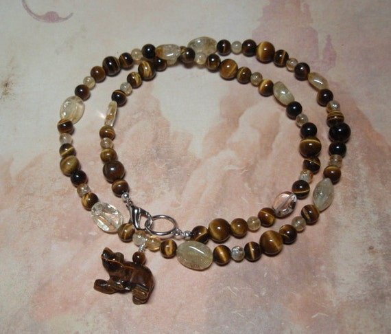 Bear Totem Necklace - Tigers Eye and Citrine Gemstone Carved Bear Bead Animal Spirit