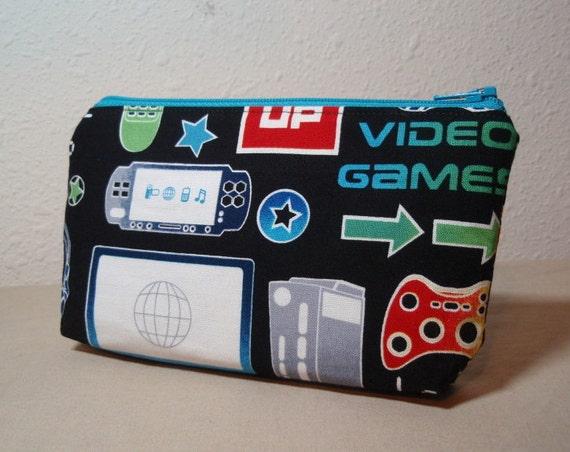 Black Techno Gaming Geek Zipper Pouch - Small