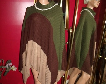 Handmade Vintage style  Boho Poncho  Flapper style Relaxed Knit 3 tone  Cape