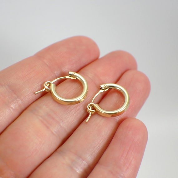 small hoop earrings for second 13mm tiny hoop earrings 14k gold filled half inch quot hollow 1157