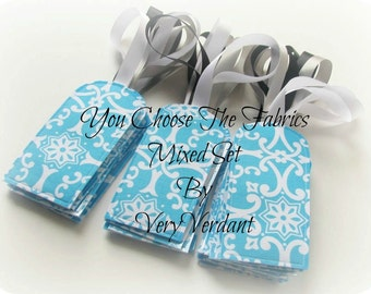 Set of 10 - You Choose The Fabric - Luggage Tag Favors - Aqua and Orange -