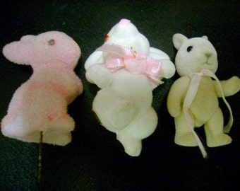 Vintage Felted Easter Rabbits bunnys miniature for Decor Projects collection mix media art supplies animals