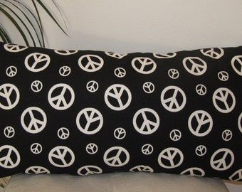 Peace Sign Black and White  Pillow Cover -  Invisible Zipper - Same Fabric Both Sides.