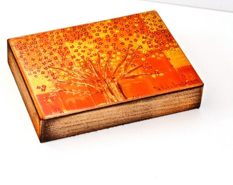 Fall Tree - Giclee print mounted on Wood (5 x 7 inches) Folk Art  by FLOR LARIOS