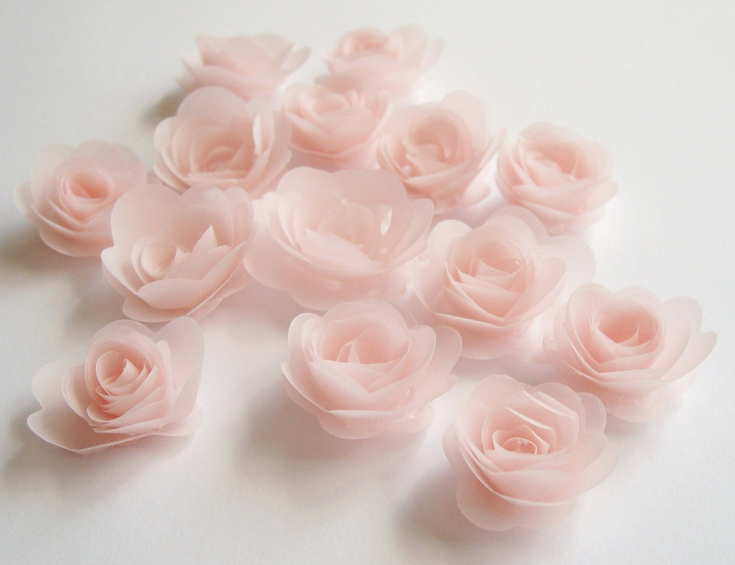 14 pink blush rolled vellum paper flowers by paperbloomsetc