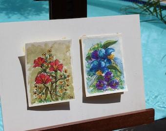 Vintage Water Colors By Jan Andrews Flowers Psychadelic Groovy Original Artwork Flowers Pen and Ink Watercolor Groovy Wall Hanging