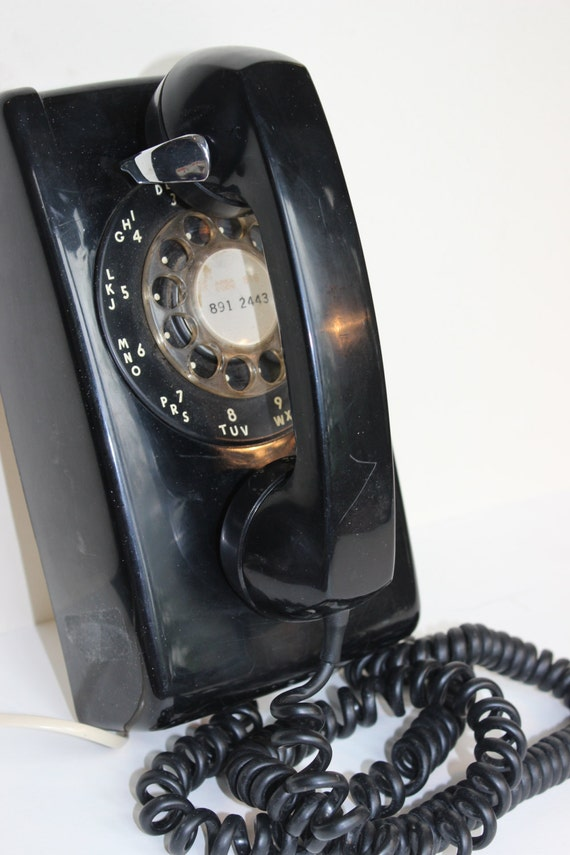 Vintage Rotary Dial Wall Telephone Bell System Western