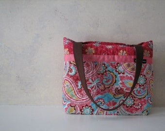 Spring Floral and Paisley Quilted Purse
