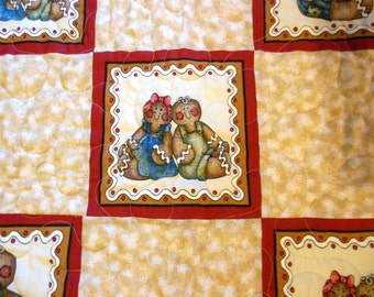 Baby Quilt, Christmas Wall Hanging, 34 1/2  X 39 1/2