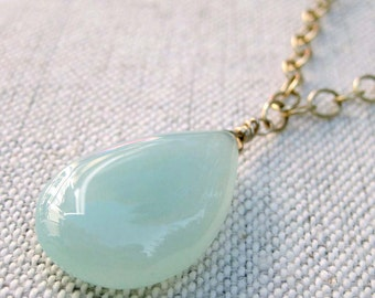 Aqua Chalcedony Teardrop Necklace with Gold Accents