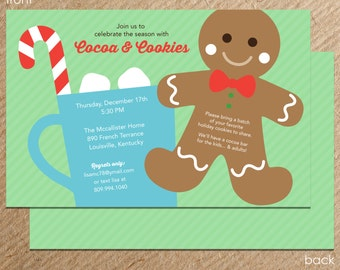Sweet Wishes Cocoa & Cookies Holiday Party Invitations - PRINTED - Digital File Also Available