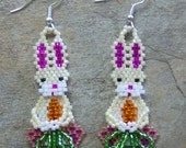 Spring Hare Earrings Hand Made Seed Beaded