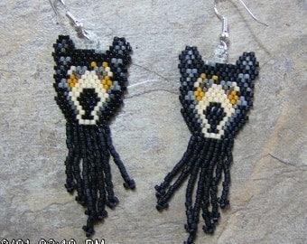 Black Bear Earrings Hand Made Seed Beaded Native Inspired