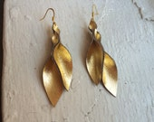 Petal Collection- Gold Metallic Lame Leather Earrings