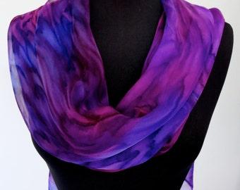 Foxglove Infinity Shawl - Hand Painted Silk Chiffon