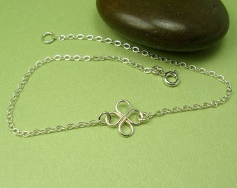 CLOVER ANKLET, sterling silver four leaf clover, cable chain