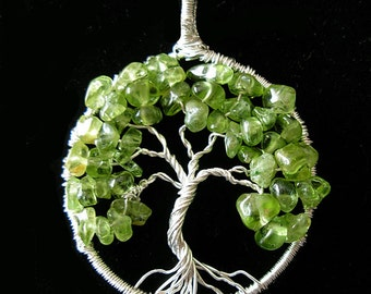 Spring blooming- Peridot Tree of Life - August Birthstone