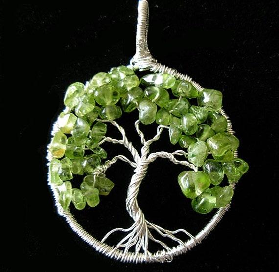 Spring blooming- Peridot Tree of Life - August Birthstone