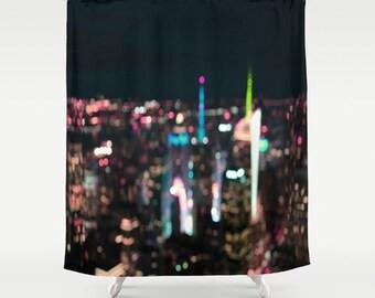 New York Manhattan Time Square Abstract . Shower Curtain, modern, home, bathroom,photography, city, urban, night sky, dreamy, noir, goth