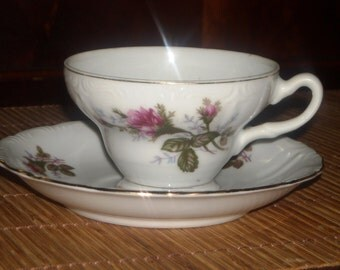 ROSEBUD TEACUP and SAUCER