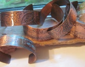 Copper etched metal cuff bracelet with original artwork designs/leaves/ocean life/mountain scene/personalized/ message