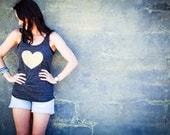 Glitter Heart Tank Top in Gold and Black // Many colors available // Racerback Glitter Tank // Women Tanks