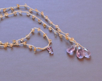 Amethyst cluster crocheted necklace with clear citrine strand