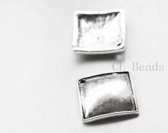 6pcs Oxidized Silver Tone Base Metal Charms - Saqure 20x4mm (6344Y-E-558)
