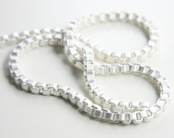 One Foot Matte Silver Plated Brass Base Chains-Box 4mm (419C05)