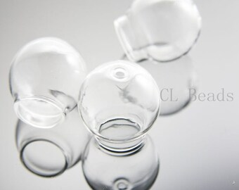 4pcs Clear Glass Cover - Two Holes 25x15mm (381C)