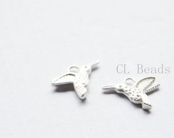 4pcs Matte Silver Plated Brass Base Charms-Hummingbird 12x15mm (1659C-S-209)