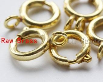 10pcs Raw Brass Round Spring Clasp - Spring Clasp 9mm (339C-I-321)
