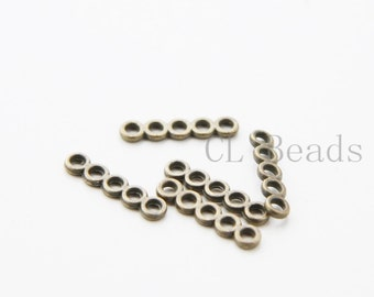 40pcs Antique Brass Tone Base Metal Multiple Hole Bars - 5 strands 18X4mm (36494Y-T-27)