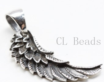 One Piece Sterling Silver Wing Pendant - 28x9mm