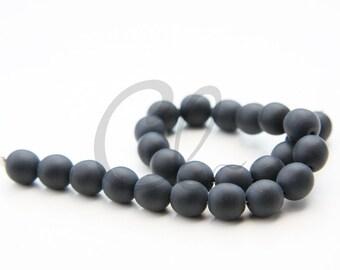 50pcs Czech Press Glass Round Beads - Matte Jet 8mm (PG821301) D*