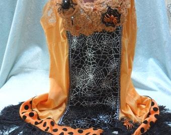 FLAPPER Halloween Gatsby 1920s Fringe - Vintage Slip Make Over - Orange and Black