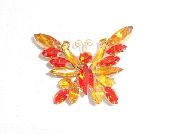 1970's Vintage Gold and Orange Rhinestone Butterfly Brooch Pin