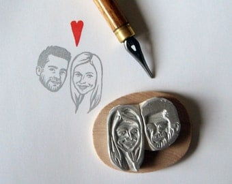 Save the date / personalised gift for couple / custom rustic wedding portraits stamps / hand carved rubber / for bridesmaid thank you cards