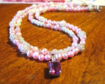 Make Me Blush ...  sapphire and sterling pendant, double strand necklace, pink natural freshwater pearls, czs .. #92