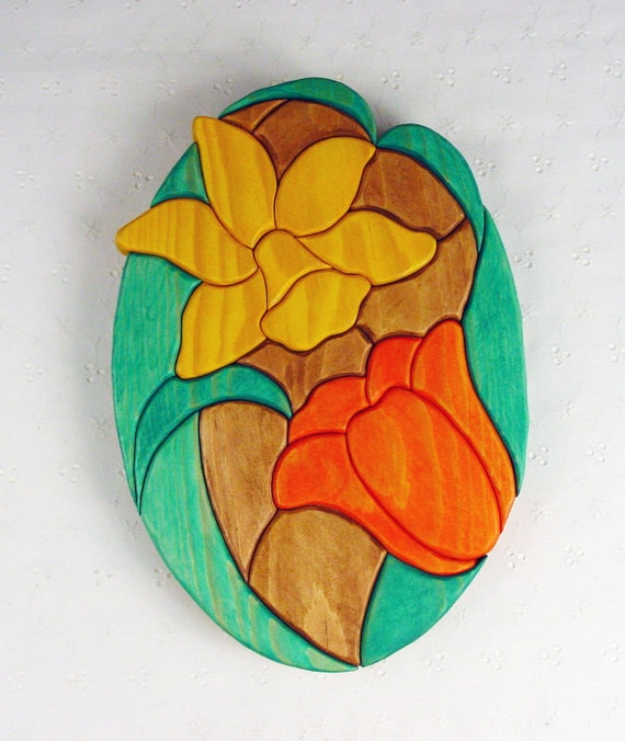 Handcrafted Wooden Intarsia Daffodil Tulip Flower Wall Art Plaque