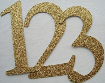 "4"" Wedding Table Numbers - GLiTTER Top Coat CHiPBOARD - Elegant Font - Color Choice: GOLD Shown"