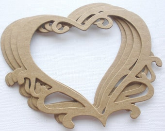 ORNATE HEART Picture Frames - Chipboard Die Cuts /  Bare Alterable Shapes