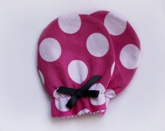 Pink Polka Dot Newborn Scratch Mittens