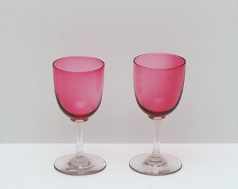 Antique Victorian Wine Port Glasses with Cranberry Bowls and Clear Stems, Pair, circa 1880s