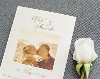 Gold Tri-fold Accordion Wedding Program, Large wedding Ceremony Program - Michelle and Alexander