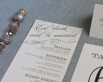 Blush Pink Art Deco Wedding Menu - Eat, Drink and be Married, Dinner Menu, Reception Menu, Blush Pink Wedding - Laura and Jared